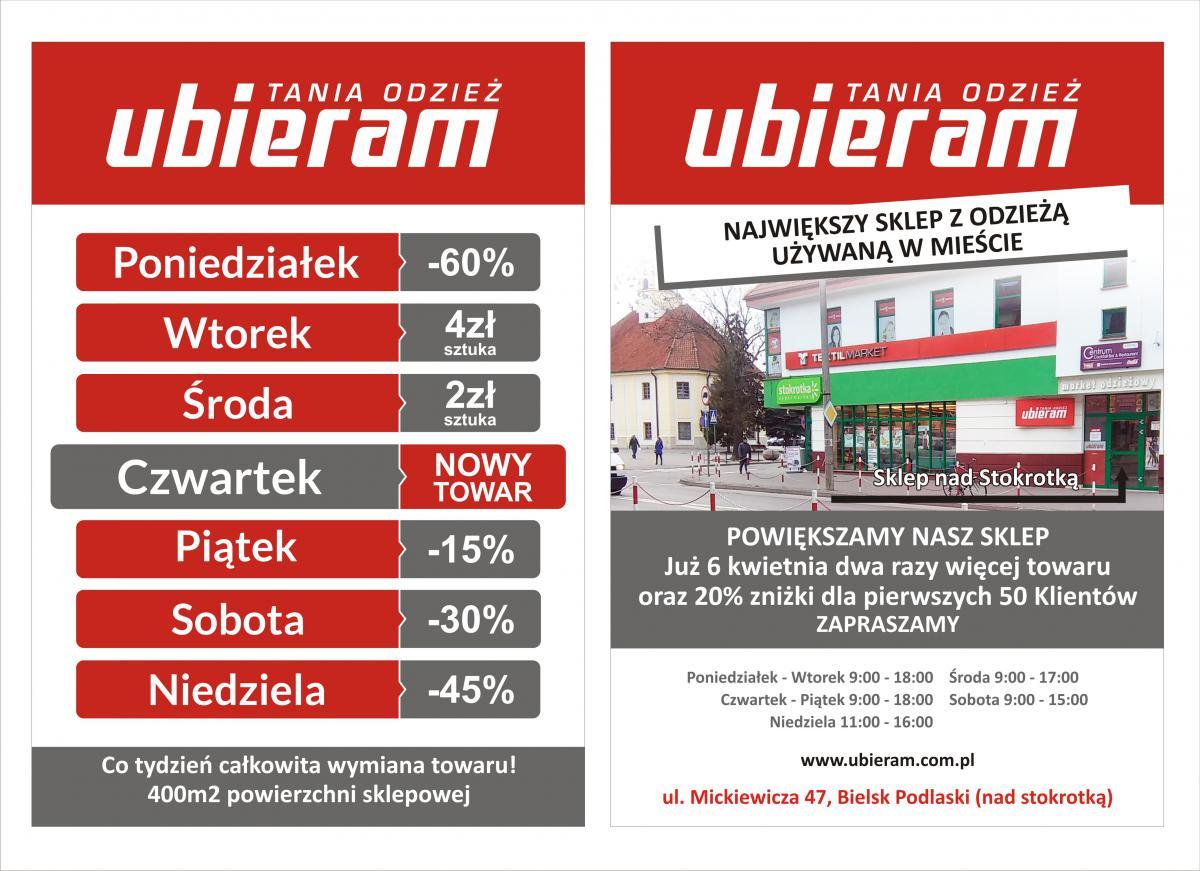 """8f8839b3c6 Tania odzież """"Ubieram"""" zaprasza do powiększonego sklepu Bielsk ..."""